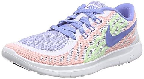 Nike Free 5.0 (GS) Unisex-Kinder Laufschuhe, Weiß (101 WHITE/CHALK BLUE-VOLT), 38