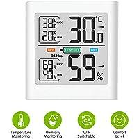 Brife Igrometro Termometro Interno, Monitor Digitale Portatile della Temperatura e Misuratore di umidità con Display LCD, Min/Max, termoigrometro a Lettura accurata per l'home Office (White)