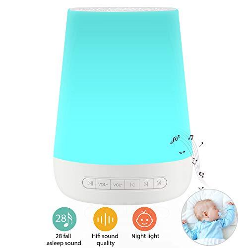 Nachtlicht White Noise Machine Einschlafhilfe - Baby Kinder Erwachsene,Wiederaufladbare Batterie USB Kinder Lampe,14 Nachtlichtmodi,28 HiFi Schlaf Klang,Timer und Speicher,Einschlafhilfe Klangtherapie