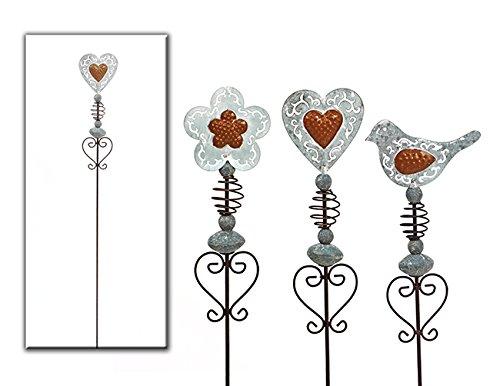 Gartenstecker Blume od. Herz od. Vogel aus Metall grau/braun L 100 cm Gartendeko (Grau Vogel)