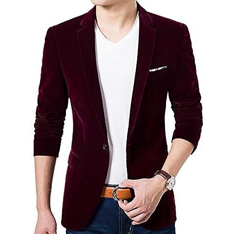 Generic Men's Velvet Formal One Button Pocket Blazers Suit Jackets Wine Red M