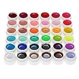 Heaviesk 36 Colores Puros 5g Nail Art Glitter UV Gel Acrílico Constructor Pegamento Sólido Gel de Esmalte Gel de uñas de Larga duración