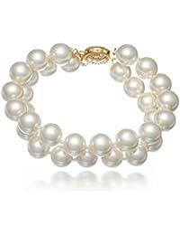 Schmuckwilly Muschelkernperlen Perlenarmband Perlen - Muschelkernperlen Armband 2-reihig weiß Hochwertige mb0027