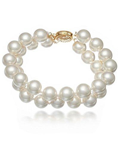 Schmuckwilli Muschelkernperlen Perlenarmband Perlen Armband 2-reihig weiß Hochwertige 20cm mb2027-20 (12mm)