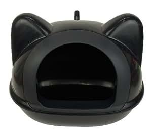 """Maison de toilette litière """"tête de chat"""" Noire L 50 cm x H 40 x l 36 cm (dimensions plus précises, voir le descriptif du produit."""