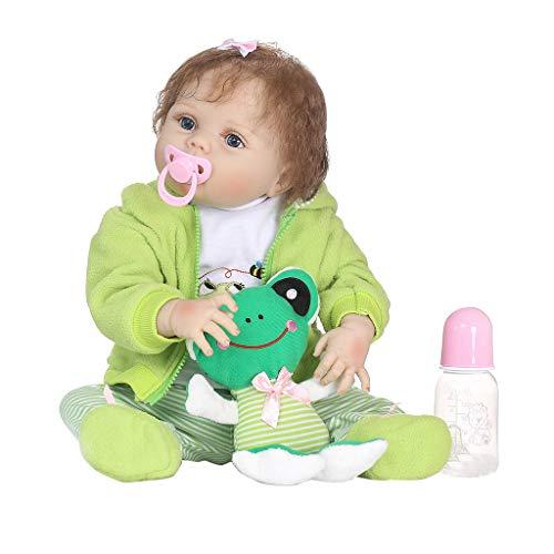 Kanitry Lebensechtes Babypuppun, 22in lebensechtes volles Silikon-Puppe-Karikatur-Kleidung-Streifen-Hosen-Mantel-Haar-Klipp-Frosch-frühe Kindheit scherzt Baby-Spielwaren