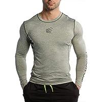 Jed North Men 's Long Sleeve té Compression Camiseta Bodybuilding Workout, Hombre, Color Gris, tamaño Medium