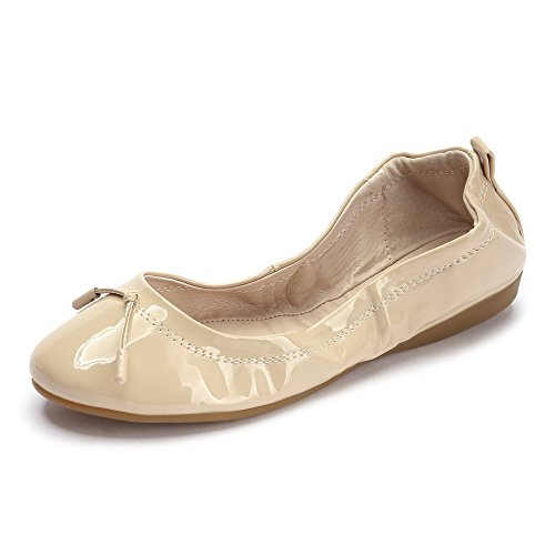 AllhqFashion Damen Lackleder Rund Zehe Niedriger Absatz Rein Flache Schuhe Aprikosen Farbe