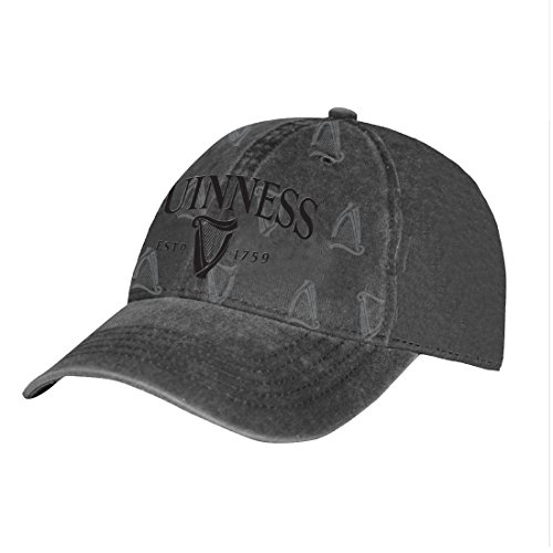 Black Guinness Distressed Harp Designed Baseball Cap