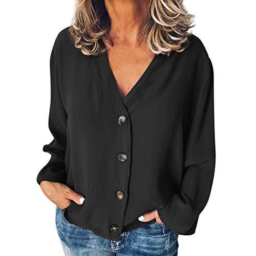 LILICAT_Shirt Damen Sommer Lässige Feste Lange Ärmel T-Shirts V-Ausschnitt Tasten Öffnung Lose Hemd Tops Outdoor Bluse Fun-Tops T-Shirts für Mädchen Oberteile