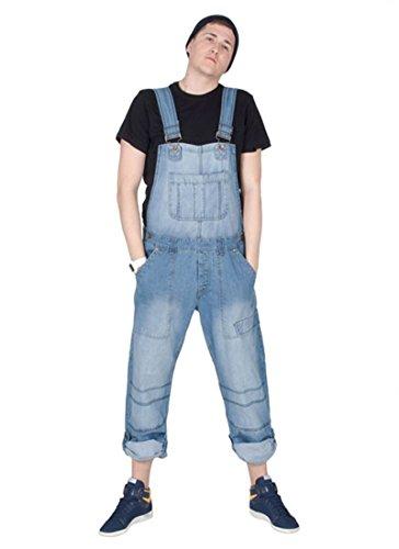 Damen Männer Latzhose Relaxed Fit Light Wash Denim Jeanslatzhosen Jeans-Latzhose PEV03-XXL