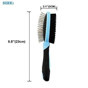 Toilettage Pour Chien Double brosse professionnelle pour animaux domestiques avec soyeux court Brosse à cheveux (broches), Brosse à poils cheveux longs ()