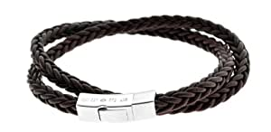Tateossian Click Monaco Double Wrap Bracelet with Brown Colour Spanish Leather and Sterling Silver Clasp of Length 42cm