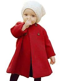 ☺Wollmantel Herbst Winter Mädchen Kinder Baby Outwear Mantel Jacke Warme Mantel Kleidung Solid Color Rundhals Langarm Cape Kinder Woolen Jacke
