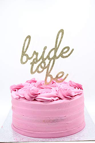 Bride To Be Gold Glitter Card Cake Topper, Wedding cake decorations