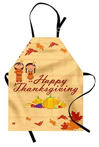 ABAKUHAUS Kinder Thanksgiving Kochschürze, Kinder in der Ureinwohner-Kostüm-Erhaltung des eingeborenen Erbes, Farbfest Höhenverstellbar Waschbar Klarer Digitaldruck, Mehrfarbig Orange