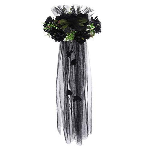 Amosfun Haargirlande, Kunstrose, schwarzer Kopfschmuck, Kranz mit langem Schleier, für Hochzeit, Party, Cosplay, Kostüm-Zubehör (schwarz)