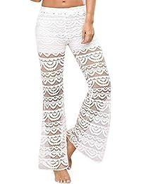 Pantalon large Femmes Dentelle Bell Bas Pantalon évasé Mi-jambe taille Yoga  Long GreatestPAK 16cf9ee26c8