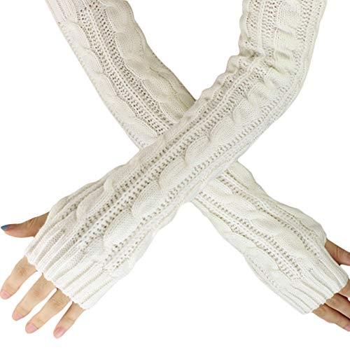 Femme Demi-Doigts Mitaines Tricoté Gants Longue Gloves Pas Cher Length:50cm/19.68' (Blanc)