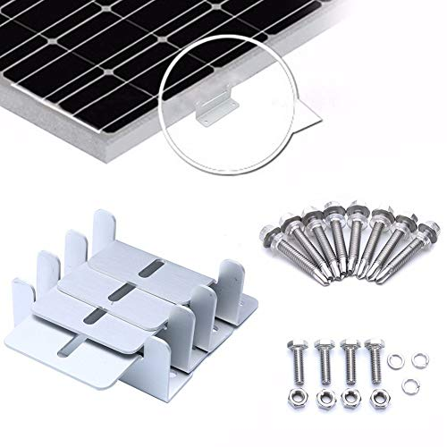 Semine 4Pcs Solar Panel Dachmontage Z-Halterung mit Schrauben und Muttern für RV Boot Dachwand und andere Off Gird Dach Installation