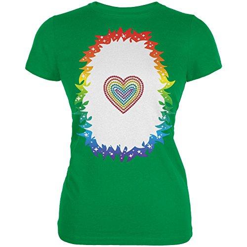 Herz Einhorn Kostüm Pony Junioren weichen T Shirt irischen Grünen LG (Irische Kostüme Für Frauen)