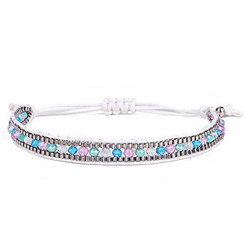 Jenny.Ben Hand-Woven Bracelets Vintage Diamonds Colored Beads red Rope Mixed Bracelet@2 - Hand-woven-diamond