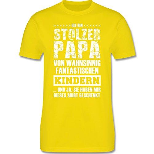 Vatertag - Stolzer Papa Fantastische Kinder - S - Lemon Gelb - L190 - Herren T-Shirt Rundhals (Ändern Gelben T-shirt)