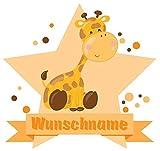 Samunshi® Giraffe Wandtattoo Türschild mit Name personalisierbar Kinderzimmer Türaufkleber Baby Wandaufkleber in 9 Größen (25x22cm Mehrfarbig)
