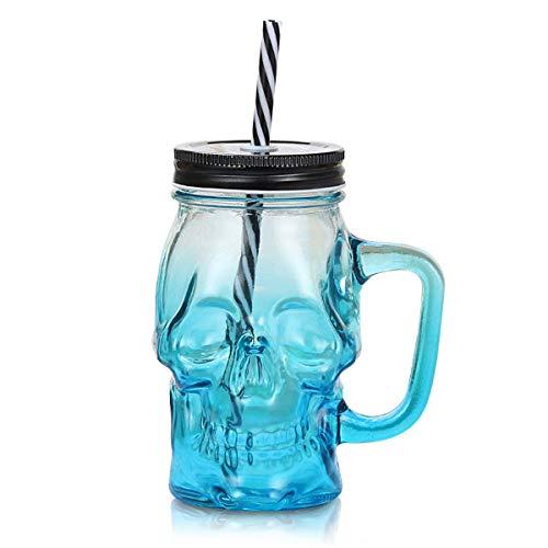(RAYTHEONER Spezielle Form Glas Bierkrug mit Strohhalm, Spuk Halloween Glas Totenkopf mit Griff farbigen Trinkhalm Deckel, Neuheit Punch Cocktail , Breites Einsatzspektrum (Blau))