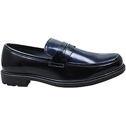 Mocassini uomo class nero blu bicolor scarpe slip on eleganti in vernice lucida (42)
