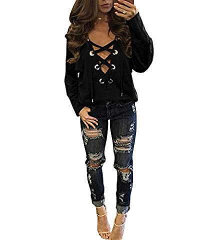 DYLH Femme Chemisier Bandage Col-V Blouses Manches Longues T-shirt Sweat-shirt