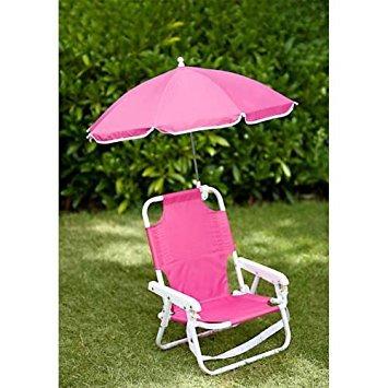 Children's Parasol Chair - Kids Deckchair & Parasol set PINK - Beach chair