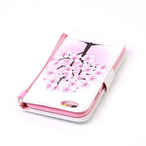 OuDu Impressum Muster Hülle für iPhone 6/6S PU Leder Handyhülle Klapp Buch-Stil Ledertasche Schale Einzigartige Entwurf Tasche Kompletter Schutzhülle Flip Wallet Case Silicone Inner Cover Book Style B Rosa Pfirsich