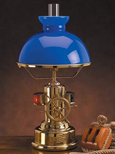 Licht-erlebnisse - lampada da tavolo in stile marinaro, in ottone, con paralume in vetro, colore: blu