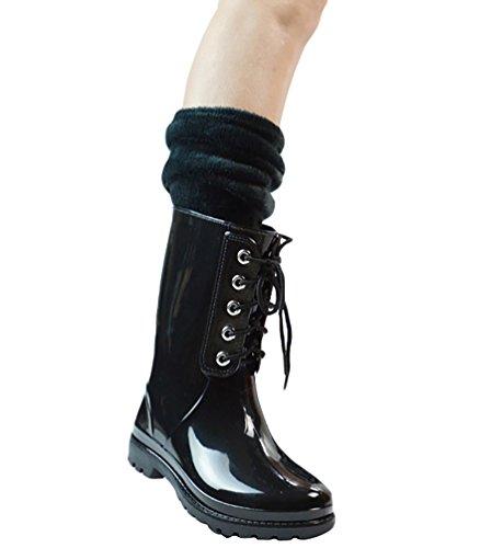 LvRao Frauen Gummistiefel Regen Schnee Wasserdichte Hohe Knöchel Lange Wellington Garten Schuhe Beige mit Socken 40 yO5Gyt