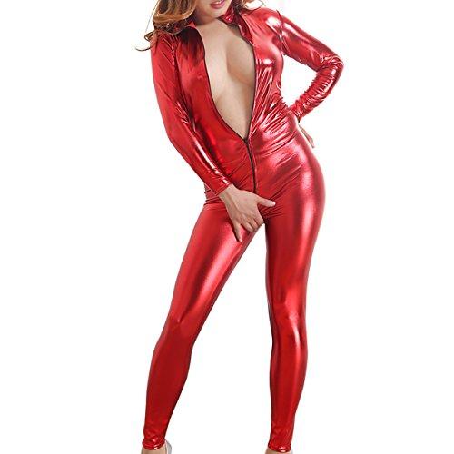 Catsuit Sexy Overall Erwachsener Cosplay Kostüm Damen Catwoman Overall PVC Glanz Wetlook Leder Clubwear Body Hosenanzug Reißverschluss Geöffneter Schritt Langarm Playsuit Jumpsuit Bodysuit Rot M (Pvc Catsuit)
