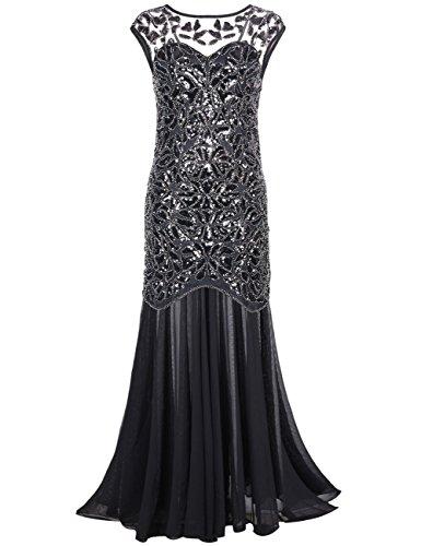 (Kayamiya Damen 1920er Jahre Perlen Pailletten Floral Maxi Lange Gatsby Flapper Abendkleid 48-50 Schwarz)