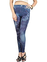 Beautiful Flower and Girl Print Jeans Imitated Leggings, NG79417