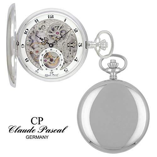 Claude Pascal Taschenuhr 572193 PSEA Savonette Silber 925/-, Doppelscharnier, PTS-Handaufzug, skelettiert