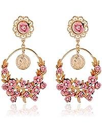 Karatcart GoldPlated Pink Flower Shape Resin Fancy Party Wear Dangle Earrings For Women