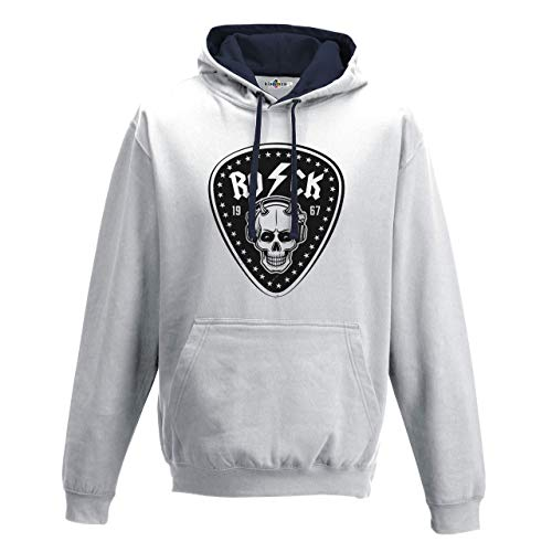 KiarenzaFD Bico Musica Hard Rock Heavy Metal AC/DC Totenkopf Old School Thunder, KFB02173-XL-white, weiß, XL - Pantera-metal-skull T-shirt
