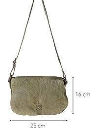 DuDu 580-1077-17 - Bolso al hombro de Piel para mujer Verde verde compact
