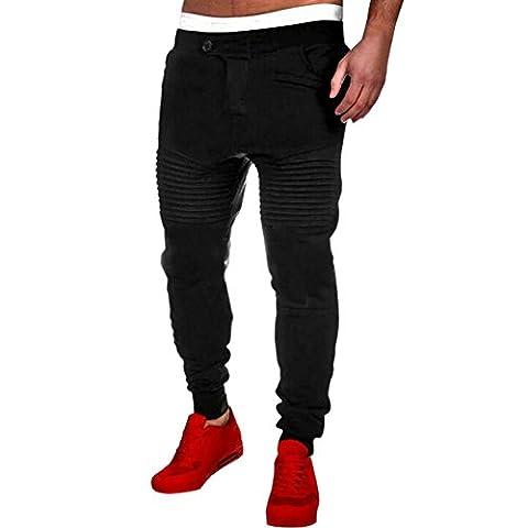Bold Manner Pantalons Homme Sport Deux Poche Taille Haute Élastique Fit Jogging Sarouel Casual (74, noir)