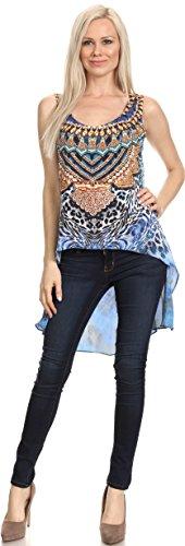 Sakkas Taryn Printed Salut Low U Scoop Neck manches Cover-up réservoir Kaftan Tunique 17019-Bleu / Blanc
