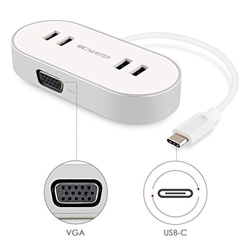 Preisvergleich Produktbild BC Master USB C 4 Port USB 3.0 Hub mit VGA Adapter,  mit 4 USB 3.0 Anschlüsse Datenübertragung ,  1 VGA Videoadapter ,  für das neue MacBook,  Chromebook Pixel und mehr