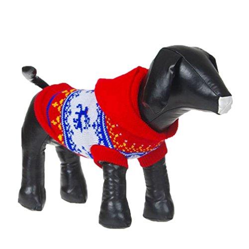 YiJee Kleine Hunde Kleidung Welpen Winter Weihnachten Rentier Hoodie Pullover Rot S