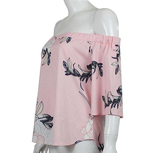 Zarupeng fiori stampa Maglie popolare senza spalline Donna Camicia Casual camicetta top Rosa
