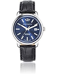 Philip Kent Men's Quartz Watch with Blue Dial Analogue Display and Black Leather Strap R8251178008