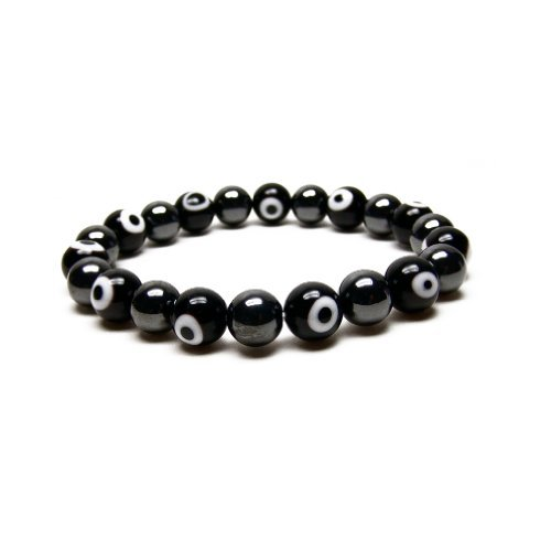 iterbares Armband von Evil Eye Beads von magnetischen Hämatit für Männer, 21.59 cm ()