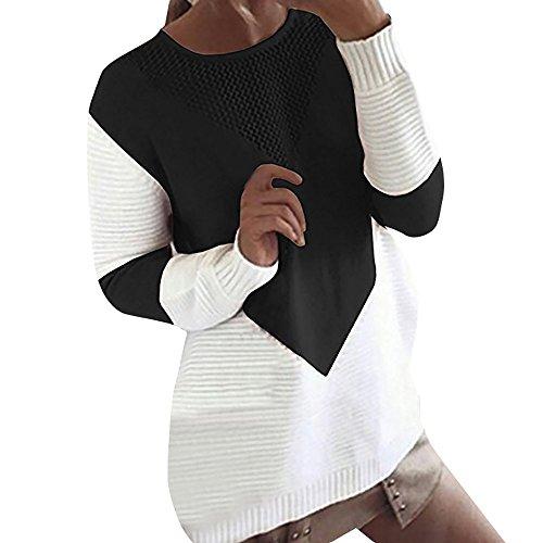 BOLANQ Damen Pullover Rundhals Frauen Langarm-Strickwaren Pullover Cardigan Langer Mantel Jacke BeiläUfiger Strickjacke(Medium,Schwarz)